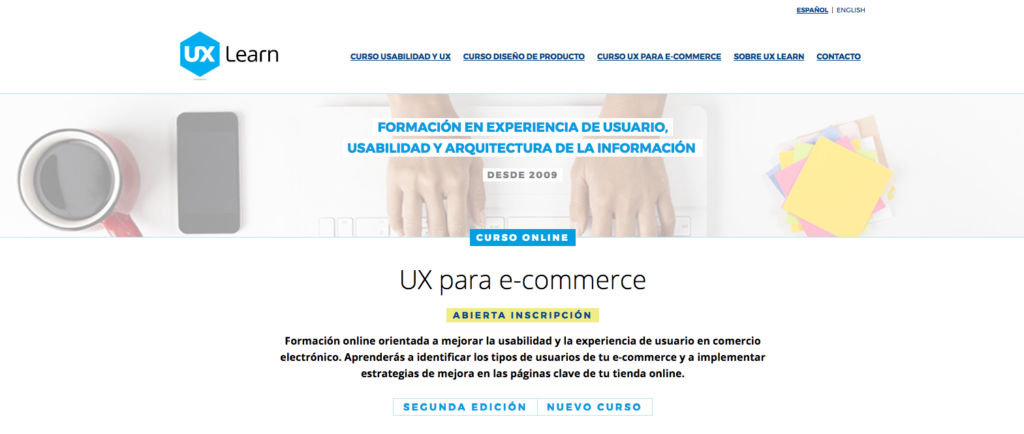 Captura del curso de e-commerce en la web de UX Learn
